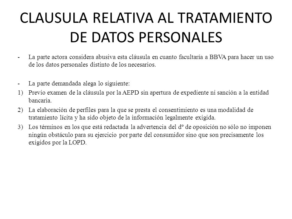 CLAUSULA RELATIVA AL TRATAMIENTO DE DATOS PERSONALES