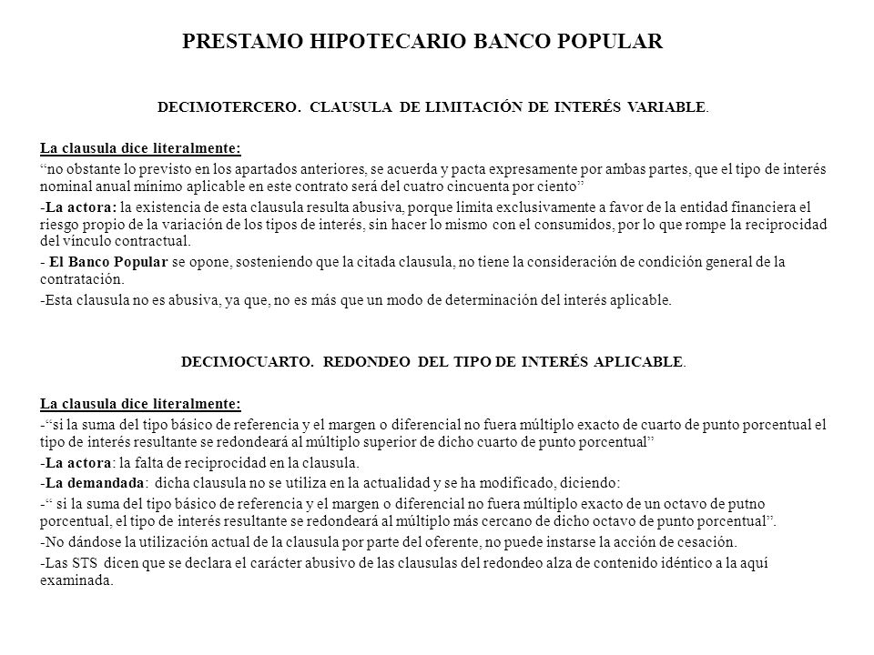 PRESTAMO HIPOTECARIO BANCO POPULAR