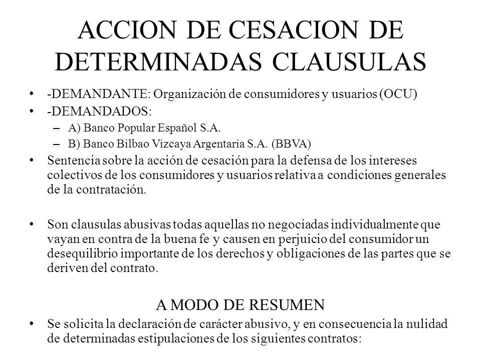 ACCION DE CESACION DE DETERMINADAS CLAUSULAS