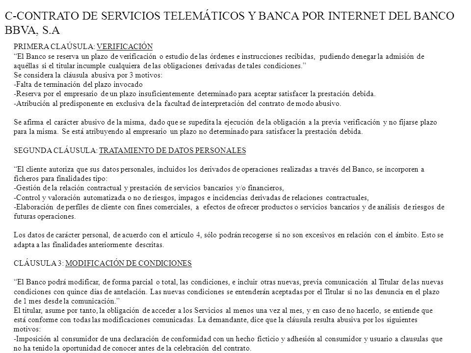 C-CONTRATO DE SERVICIOS TELEMÁTICOS Y BANCA POR INTERNET DEL BANCO BBVA, S.A