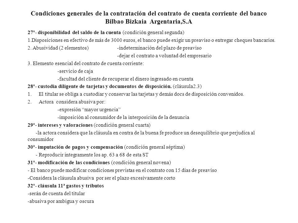 Condiciones generales de la contratación del contrato de cuenta corriente del banco Bilbao Bizkaia Argentaria,S.A