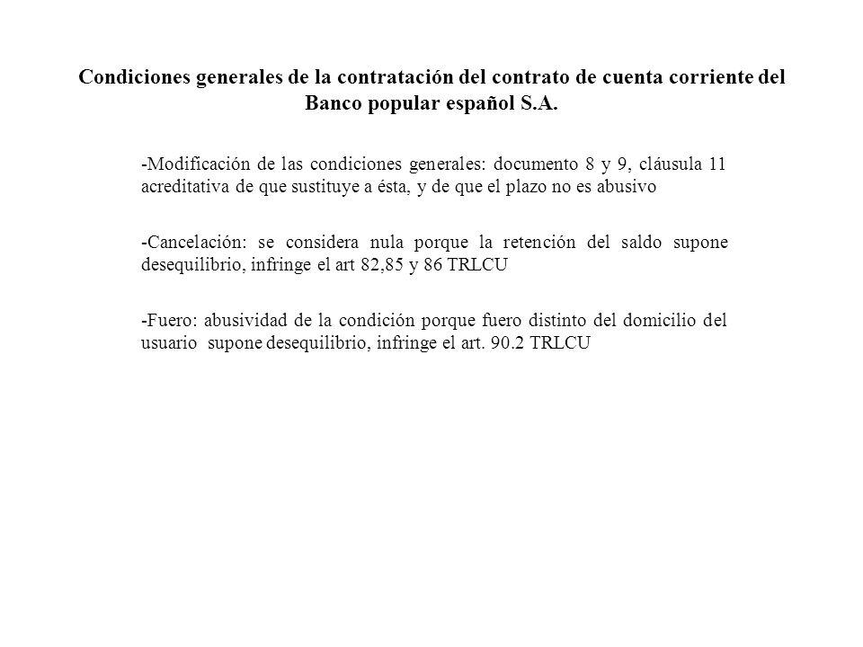Condiciones generales de la contratación del contrato de cuenta corriente del Banco popular español S.A.