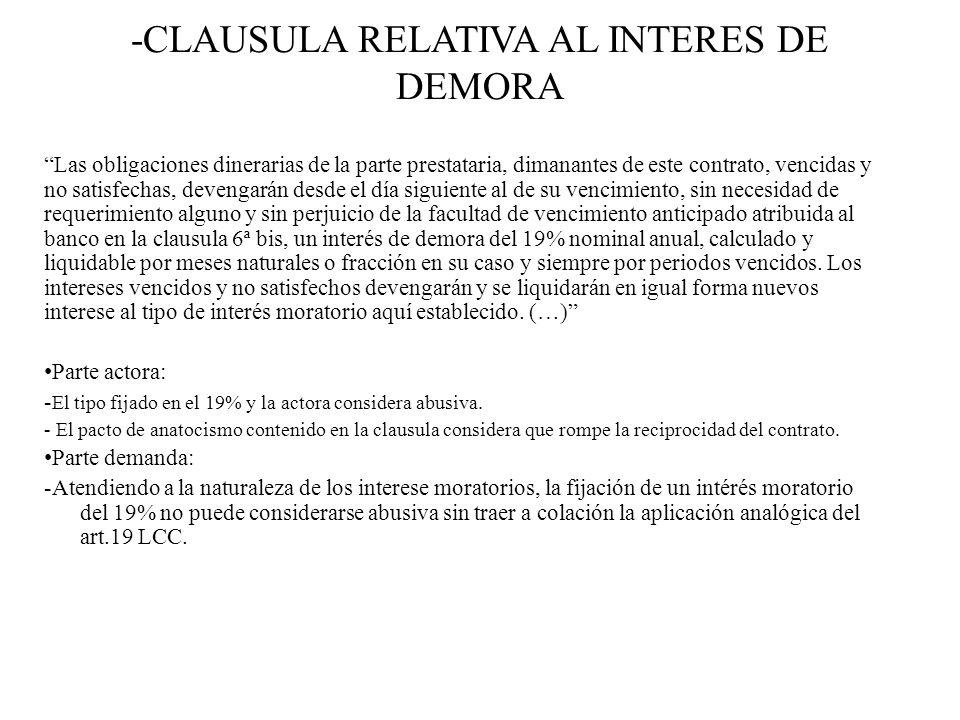 -CLAUSULA RELATIVA AL INTERES DE DEMORA