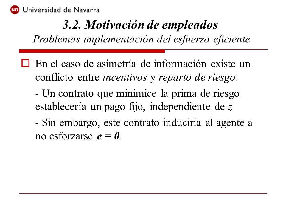 3.2. Motivación de empleados Problemas implementación del esfuerzo eficiente