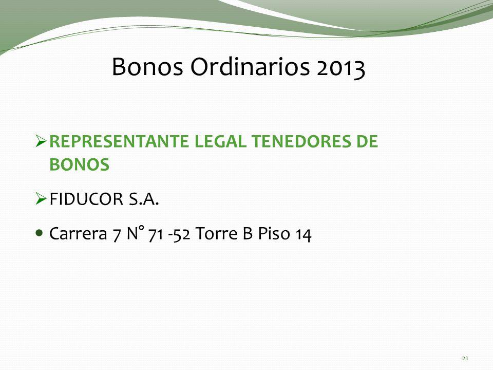 Bonos Ordinarios 2013 REPRESENTANTE LEGAL TENEDORES DE BONOS