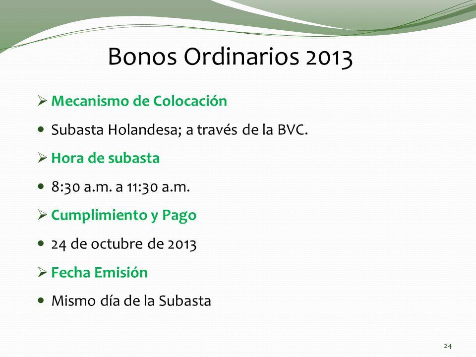 Bonos Ordinarios 2013 Mecanismo de Colocación