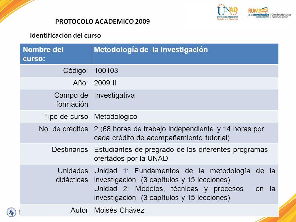 PROTOCOLO ACADEMICO 2009 Identificación del curso. Nombre del curso: Metodología de la investigación.