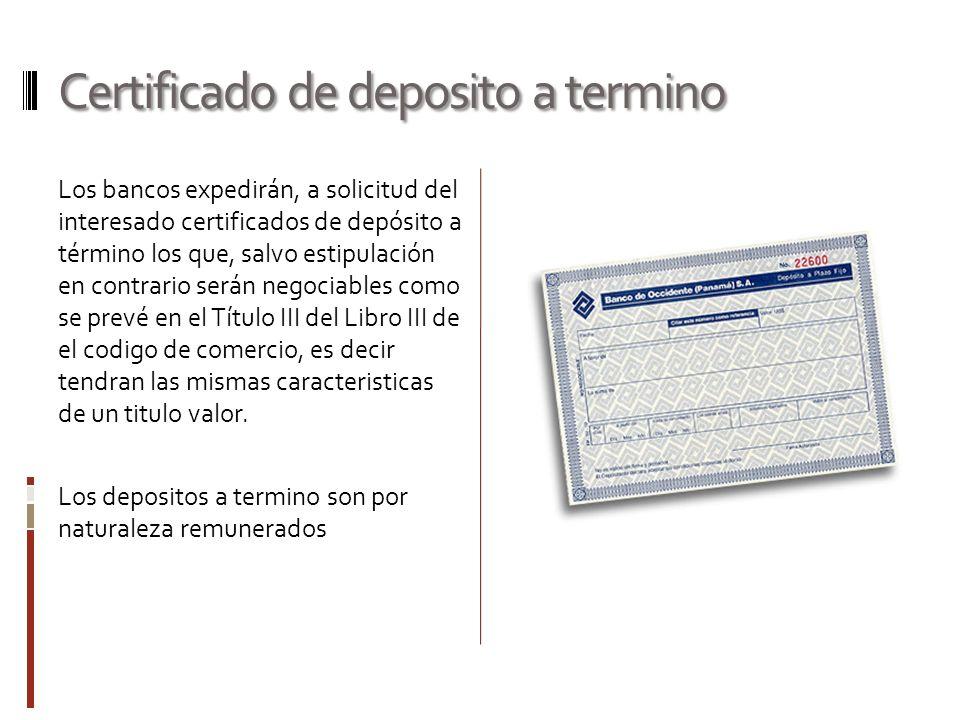 Certificado de deposito a termino