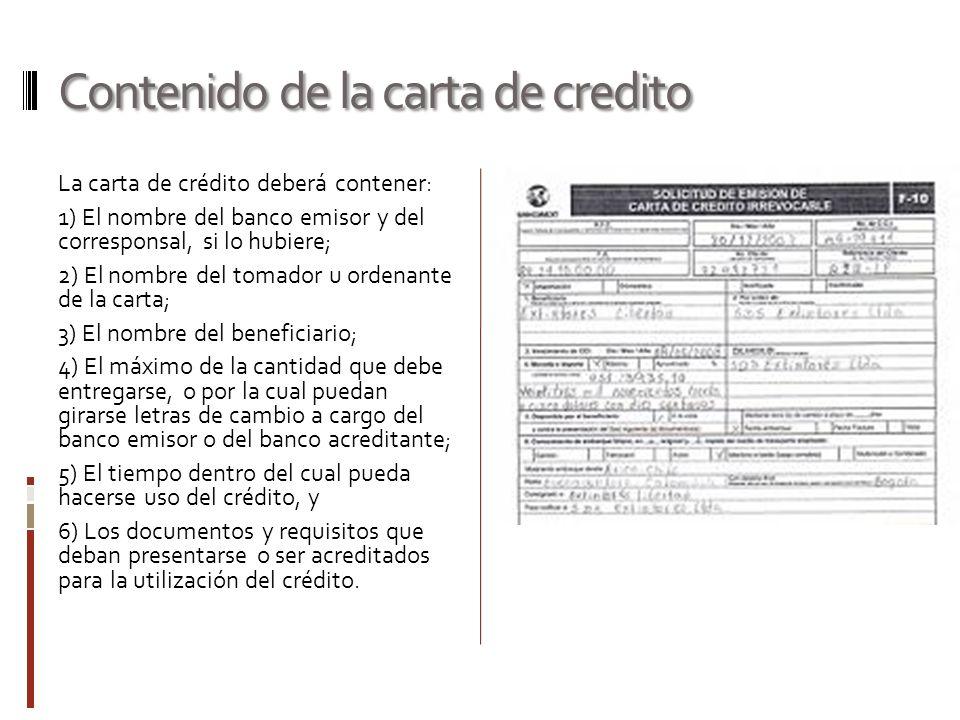 Contenido de la carta de credito