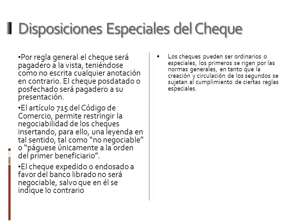 Disposiciones Especiales del Cheque