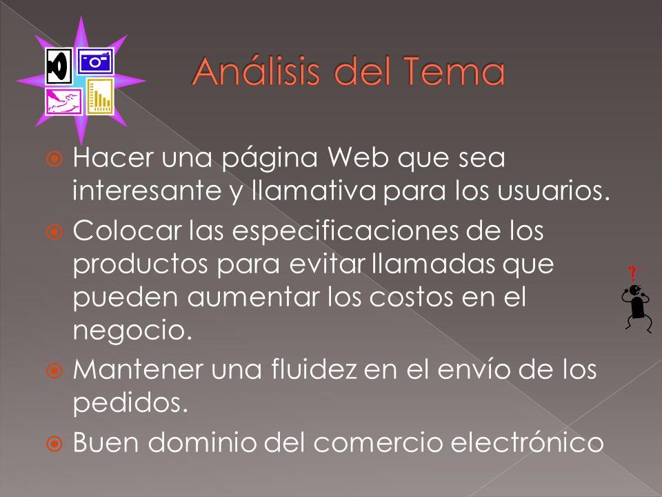 Análisis del TemaHacer una página Web que sea interesante y llamativa para los usuarios.
