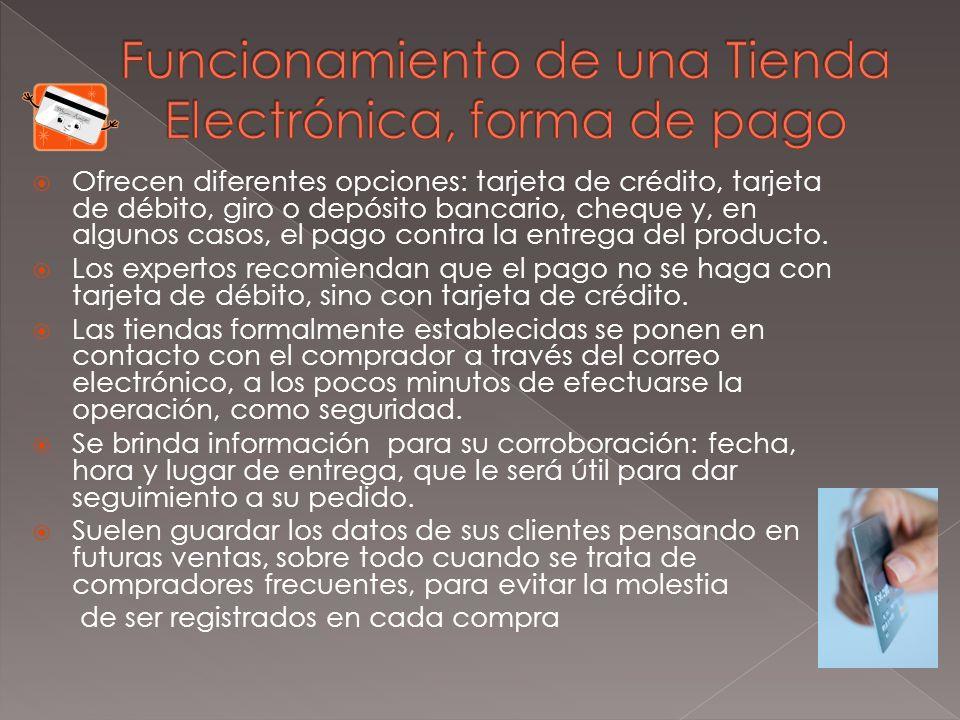 Funcionamiento de una Tienda Electrónica, forma de pago