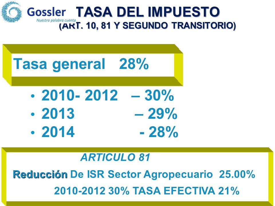 TASA DEL IMPUESTO (ART. 10, 81 Y SEGUNDO TRANSITORIO)