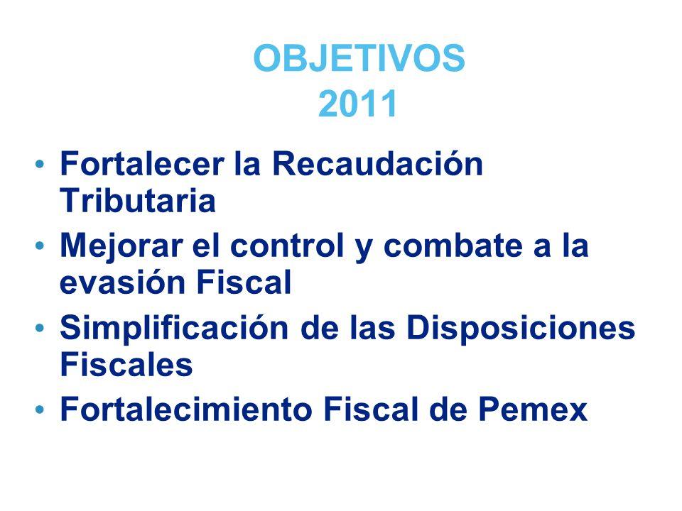 OBJETIVOS 2011 Fortalecer la Recaudación Tributaria