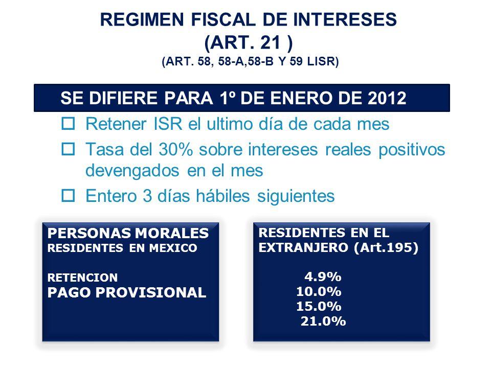 REGIMEN FISCAL DE INTERESES (ART. 21 ) (ART. 58, 58-A,58-B Y 59 LISR)