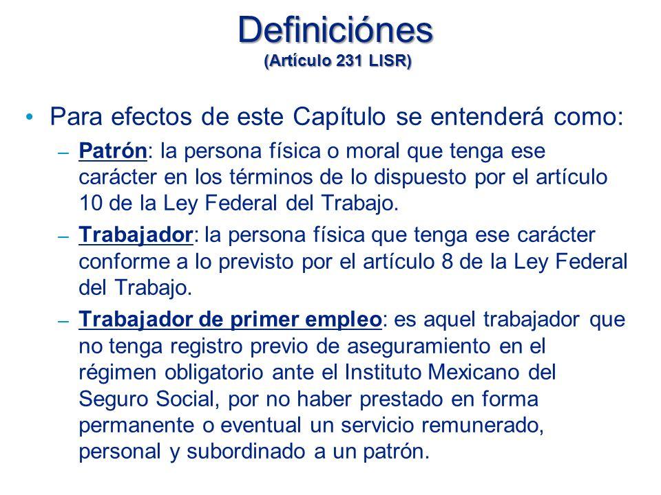 Definiciónes (Artículo 231 LISR)