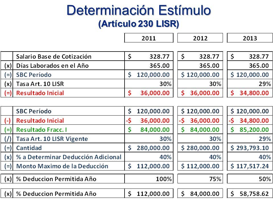 Determinación Estímulo (Artículo 230 LISR)