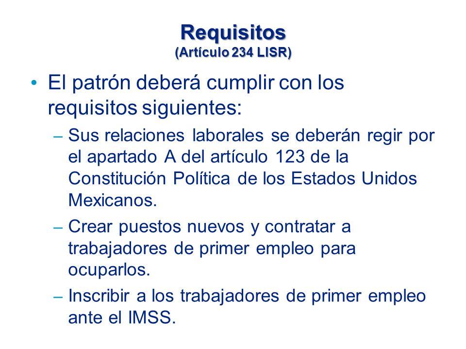 Requisitos (Artículo 234 LISR)