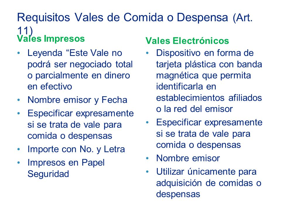 Requisitos Vales de Comida o Despensa (Art. 11)