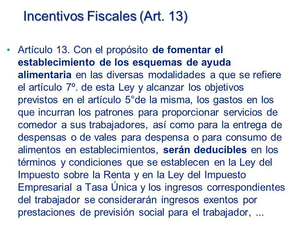 Incentivos Fiscales (Art. 13)