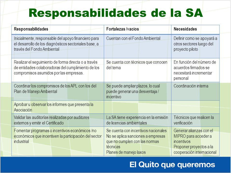 Responsabilidades de la SA