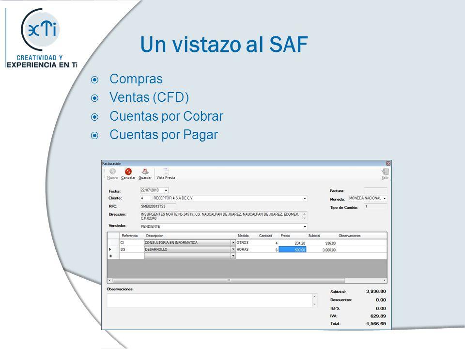 Un vistazo al SAF Compras Ventas (CFD) Cuentas por Cobrar