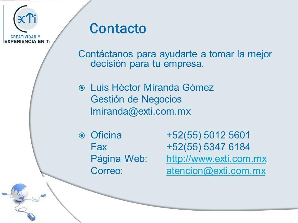 Contacto Contáctanos para ayudarte a tomar la mejor decisión para tu empresa. Luis Héctor Miranda Gómez.