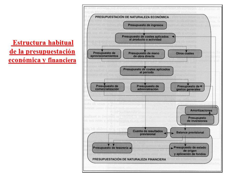 Estructura habitual de la presupuestación económica y financiera