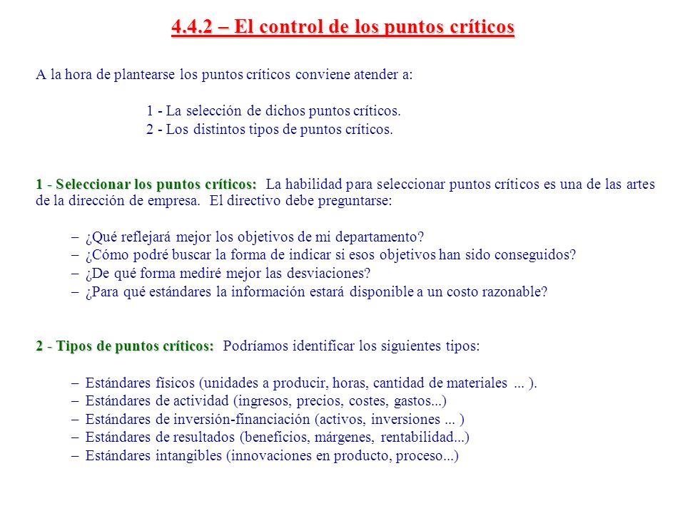4.4.2 – El control de los puntos críticos