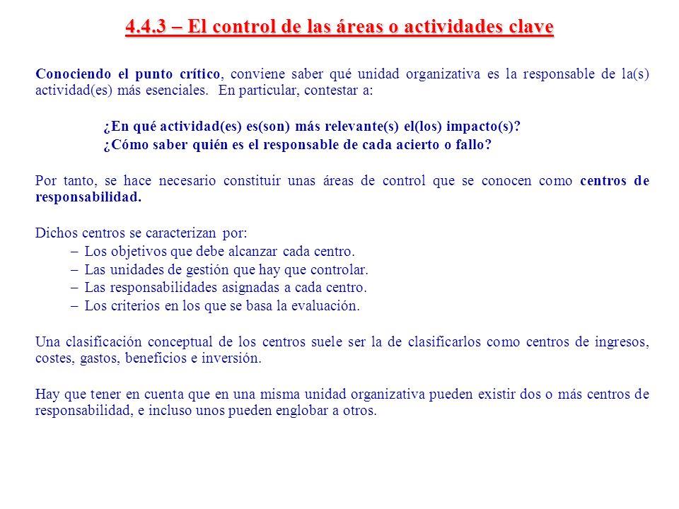 4.4.3 – El control de las áreas o actividades clave