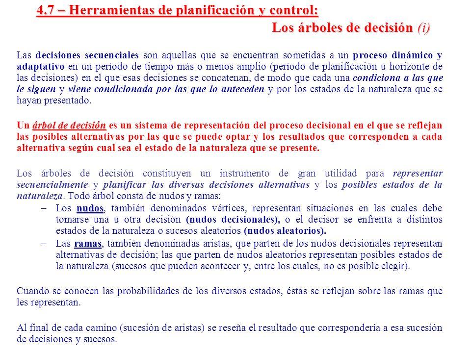 4. 7 – Herramientas de planificación y control: