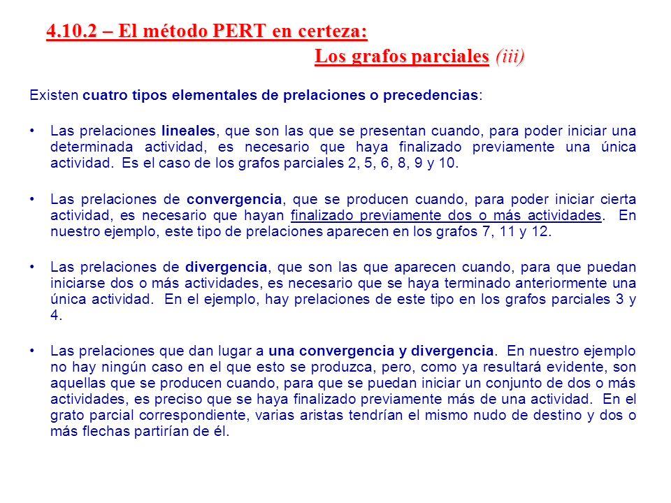4.10.2 – El método PERT en certeza: Los grafos parciales (iii)