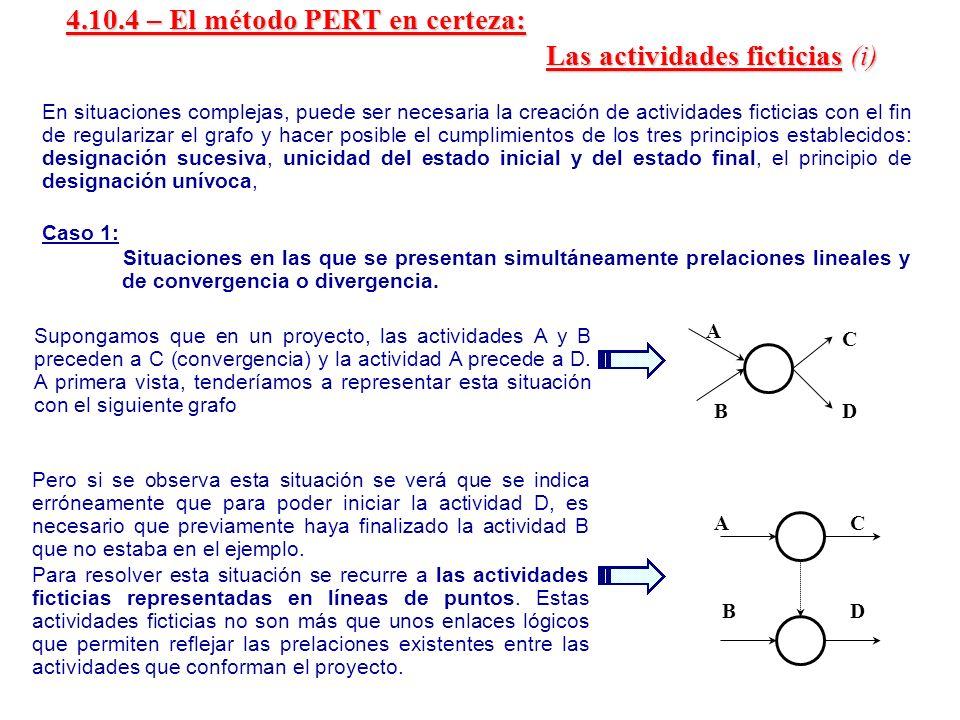 4.10.4 – El método PERT en certeza: Las actividades ficticias (i)