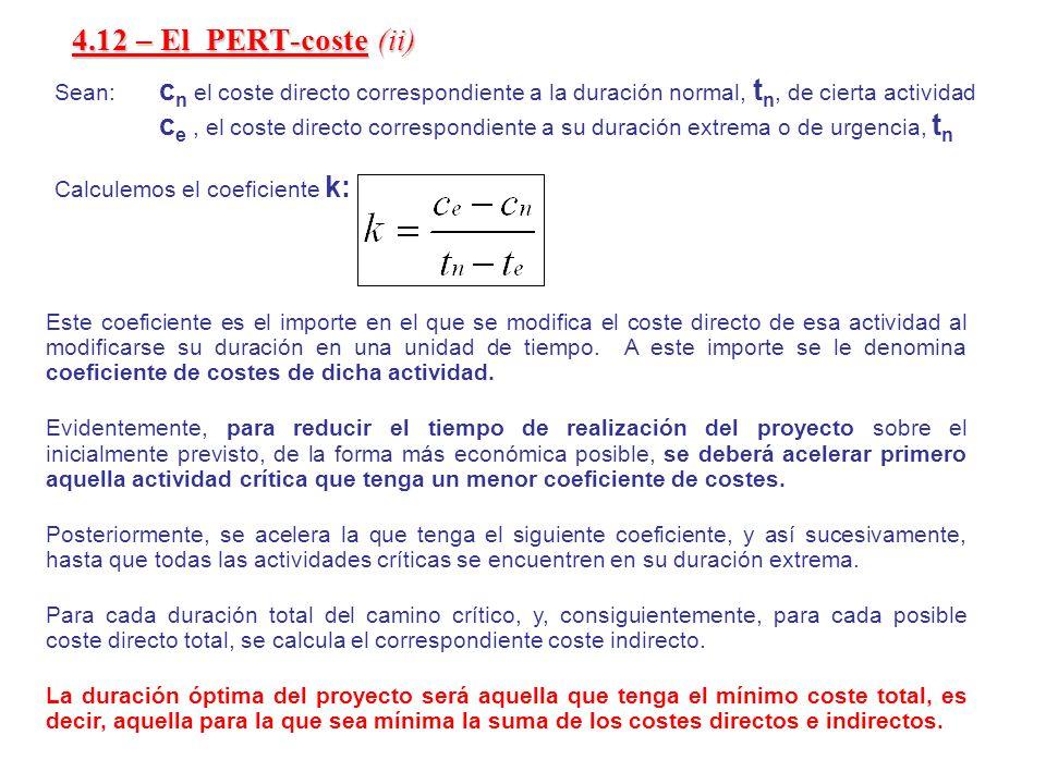 4.12 – El PERT-coste (ii)Sean: cn el coste directo correspondiente a la duración normal, tn, de cierta actividad.