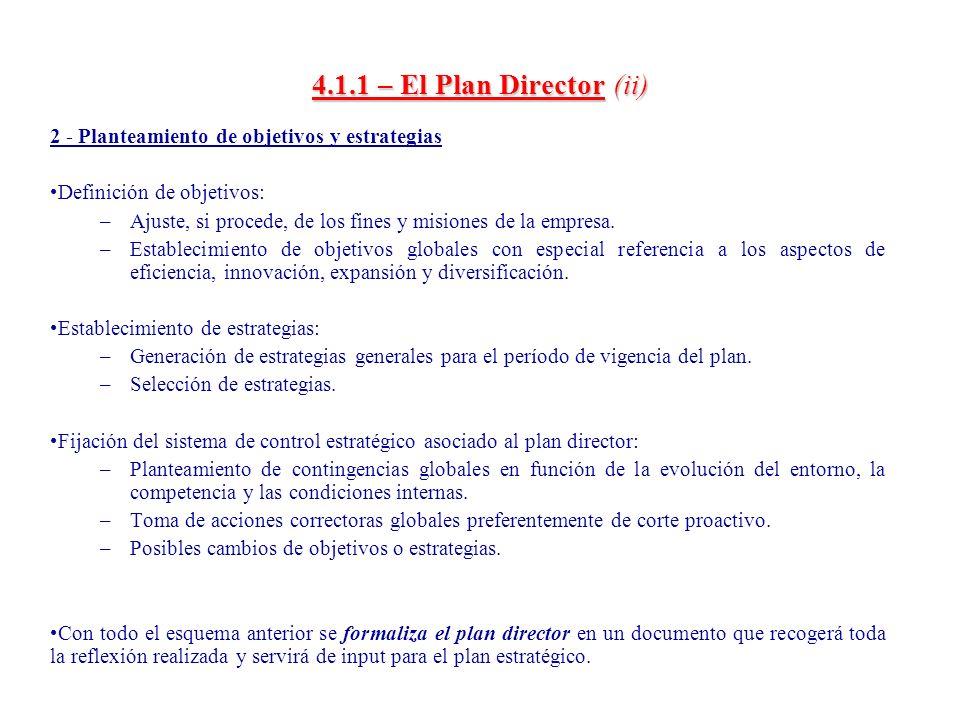 4.1.1 – El Plan Director (ii) 2 - Planteamiento de objetivos y estrategias. Definición de objetivos: