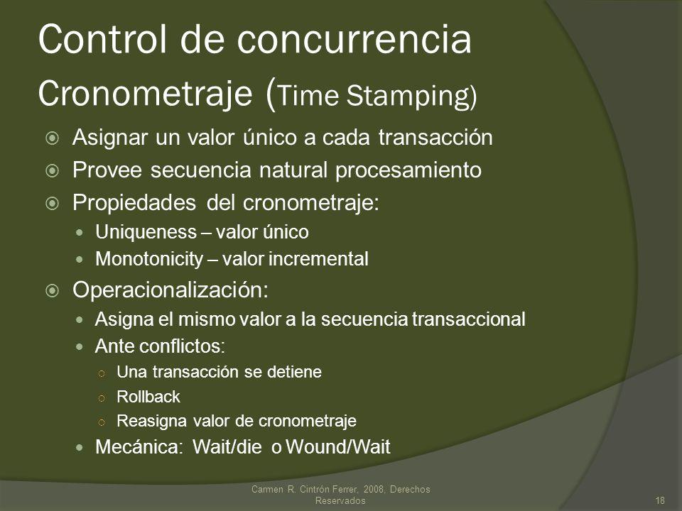 Control de concurrencia Cronometraje (Time Stamping)