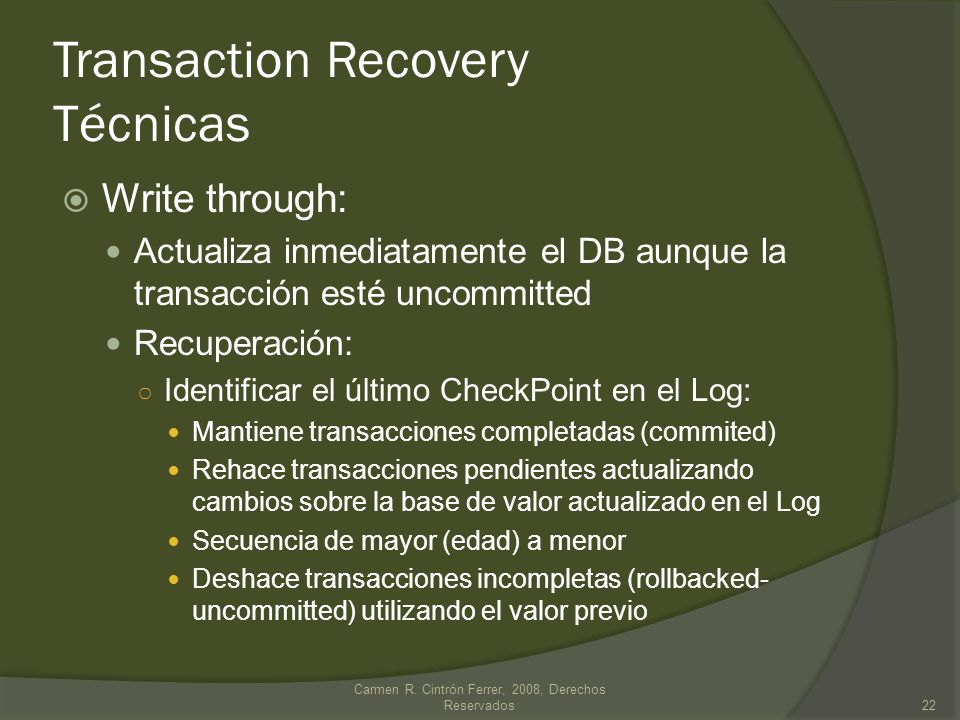 Transaction Recovery Técnicas