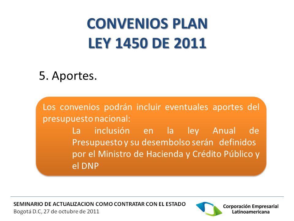 CONVENIOS PLAN LEY 1450 DE 2011 5. Aportes.