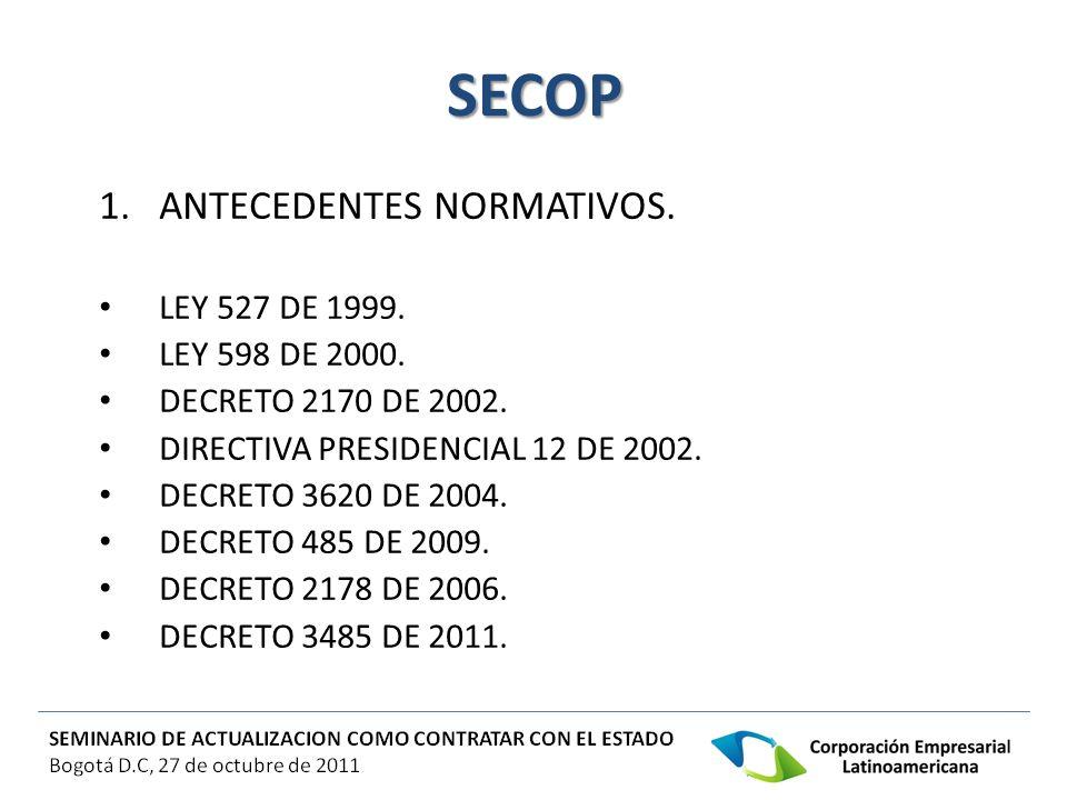 SECOP ANTECEDENTES NORMATIVOS. LEY 527 DE 1999. LEY 598 DE 2000.