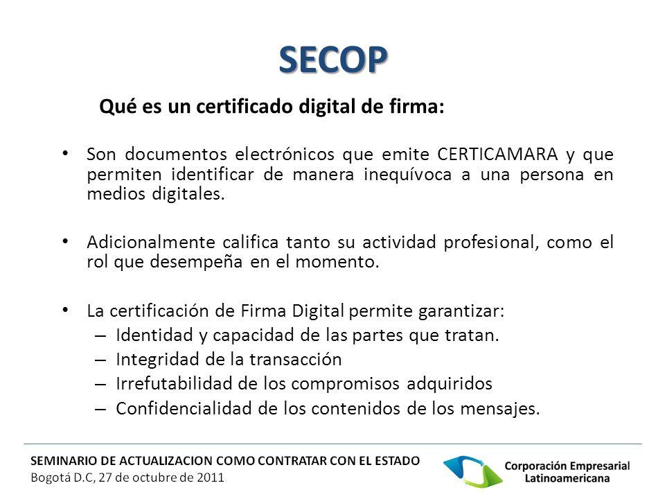 SECOP Qué es un certificado digital de firma: