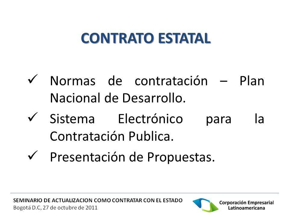 CONTRATO ESTATAL Normas de contratación – Plan Nacional de Desarrollo.