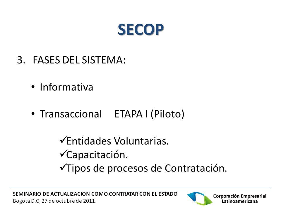 SECOP 3. FASES DEL SISTEMA: Informativa Transaccional ETAPA I (Piloto)