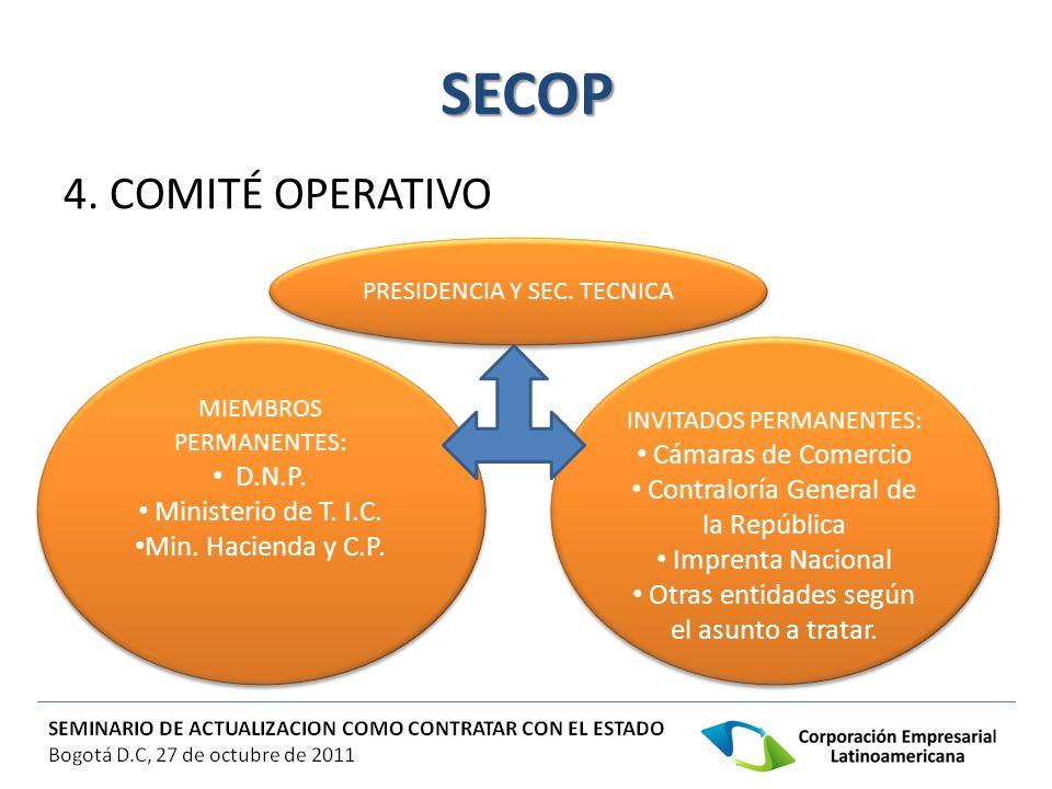 SECOP 4. COMITÉ OPERATIVO Cámaras de Comercio D.N.P.