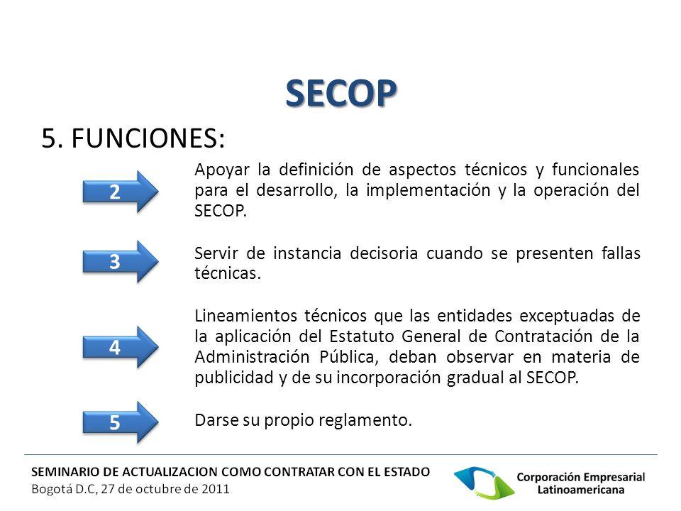 SECOP 5. FUNCIONES: Apoyar la definición de aspectos técnicos y funcionales para el desarrollo, la implementación y la operación del SECOP.