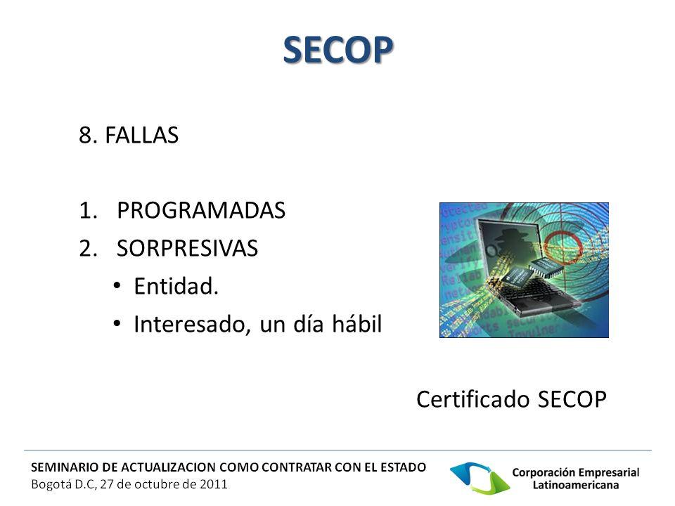 SECOP 8. FALLAS PROGRAMADAS 2. SORPRESIVAS Entidad.