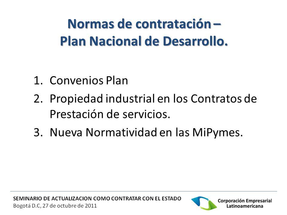 Normas de contratación – Plan Nacional de Desarrollo.