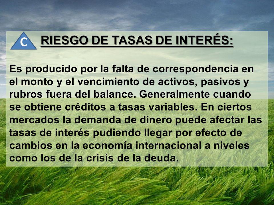 RIESGO DE TASAS DE INTERÉS: