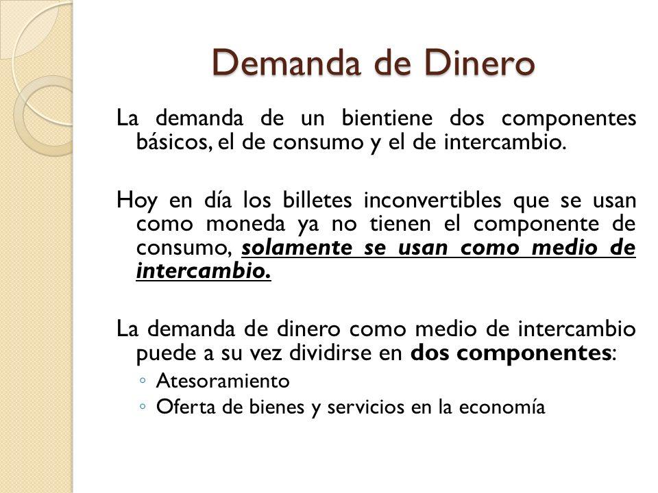 Demanda de Dinero La demanda de un bientiene dos componentes básicos, el de consumo y el de intercambio.