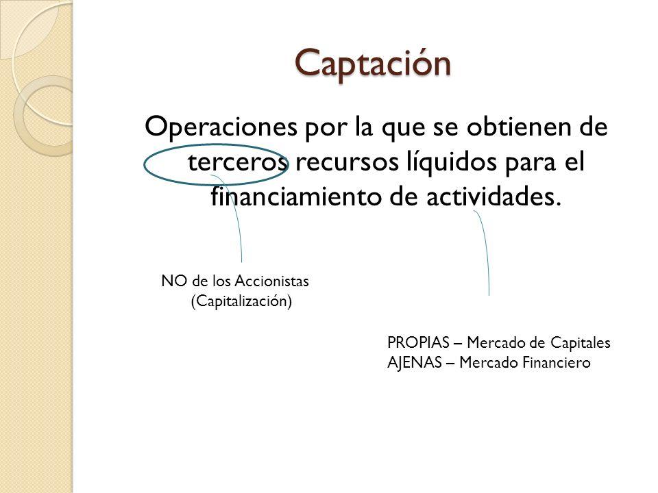 Captación Operaciones por la que se obtienen de terceros recursos líquidos para el financiamiento de actividades.