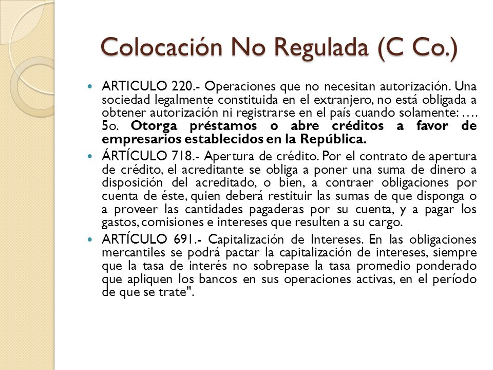 Colocación No Regulada (C Co.)